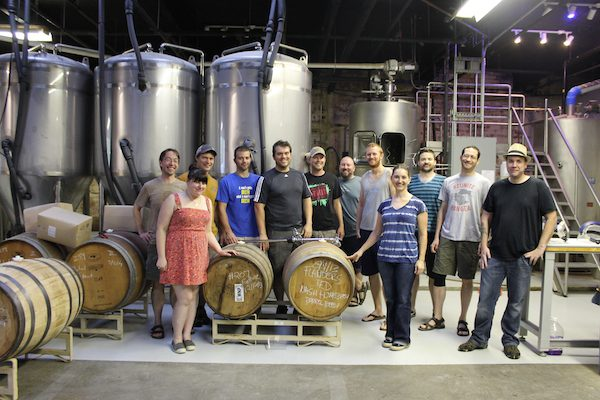 Members of the Nash Street Homebrew Club at Mystery Brewing in Hillsborough.