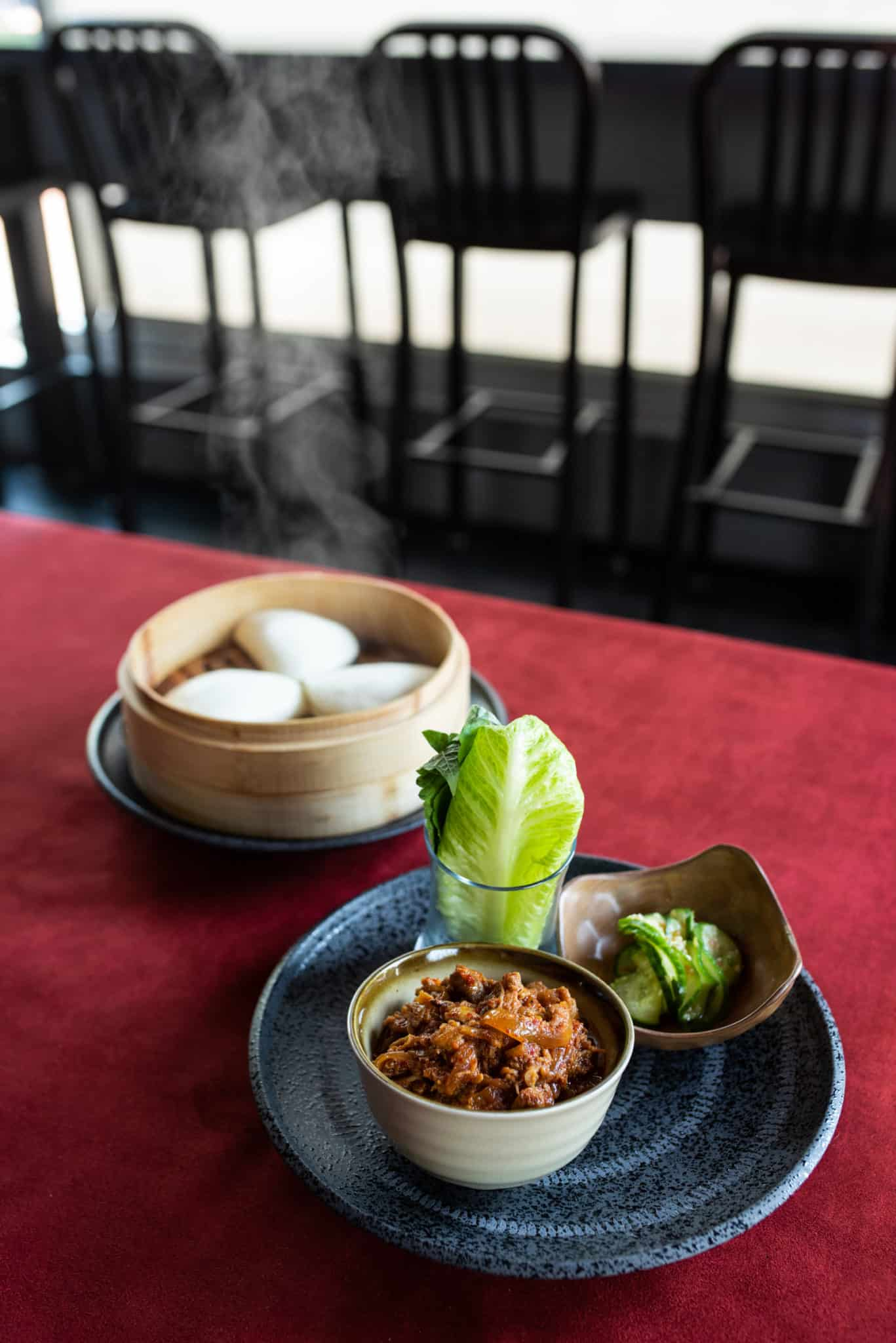 M Pocha's Spicy Pork with Steamed Buns