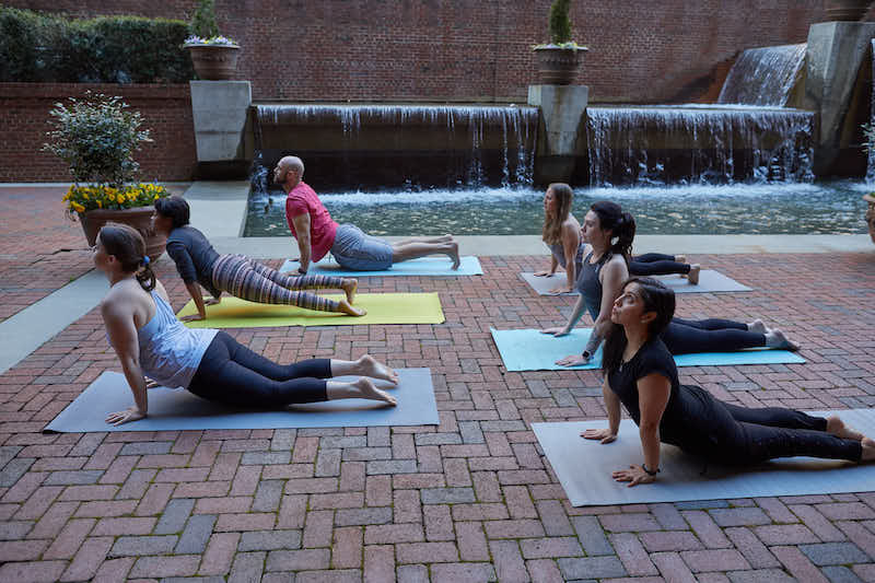 Yoga class at WellFest in downtown Durham