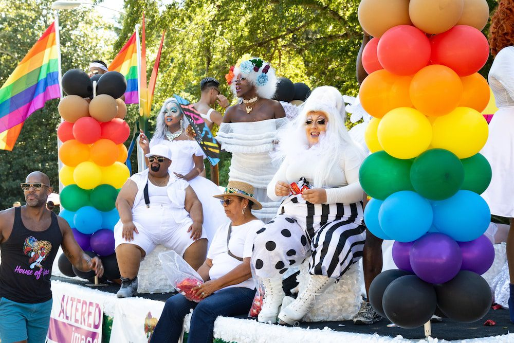 drag queens on a float at Pride Durham