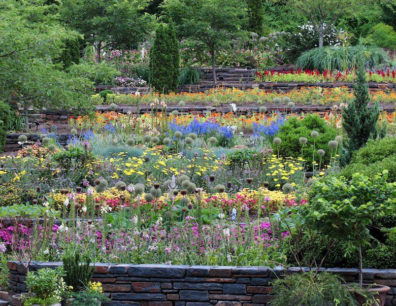 A spring photo of the Terrace Gardens at Sarah P. Duke Gardens.