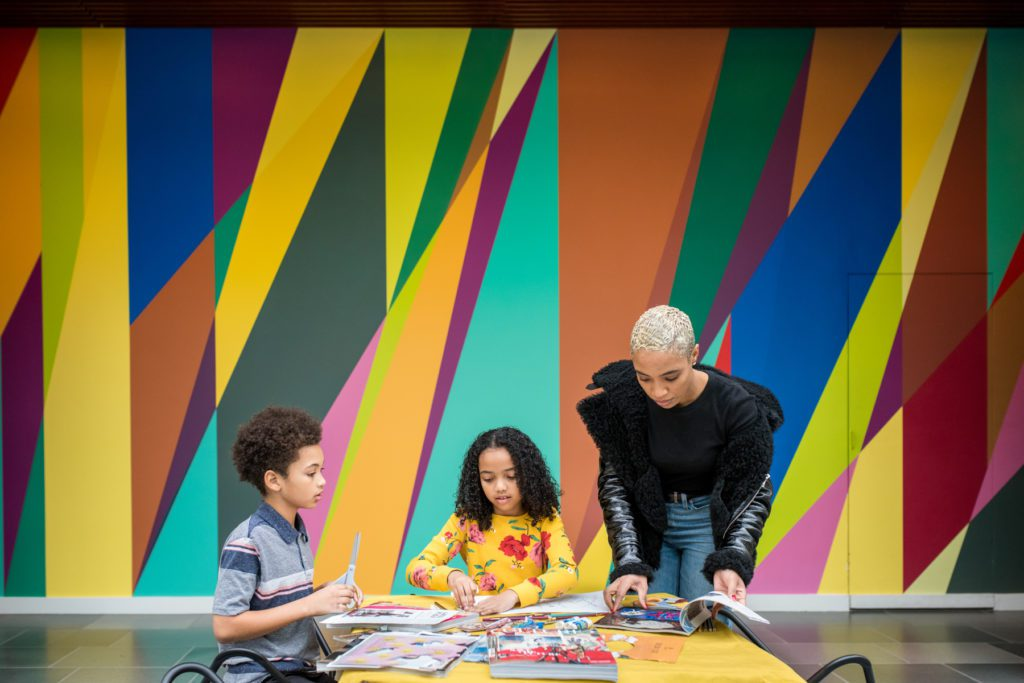 Jade Jackson and her kids at the Nasher Museum of Art at Duke University
