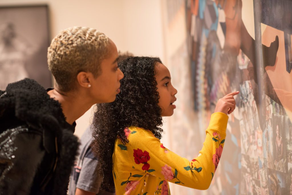 Jade Jackson and her kids explore the galleries at the Nasher Museum of Art at Duke University.