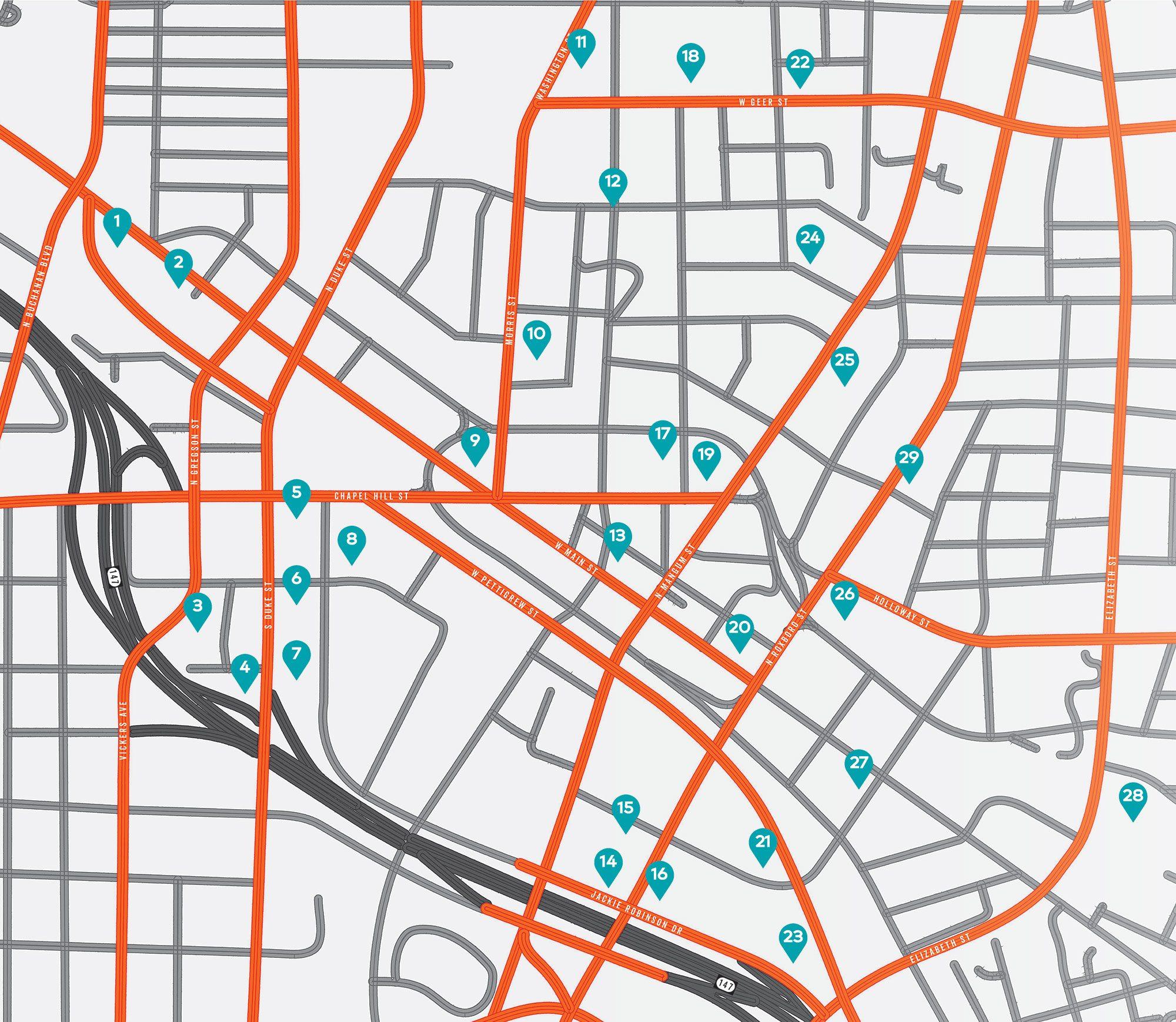 Downtown Durham Development Map