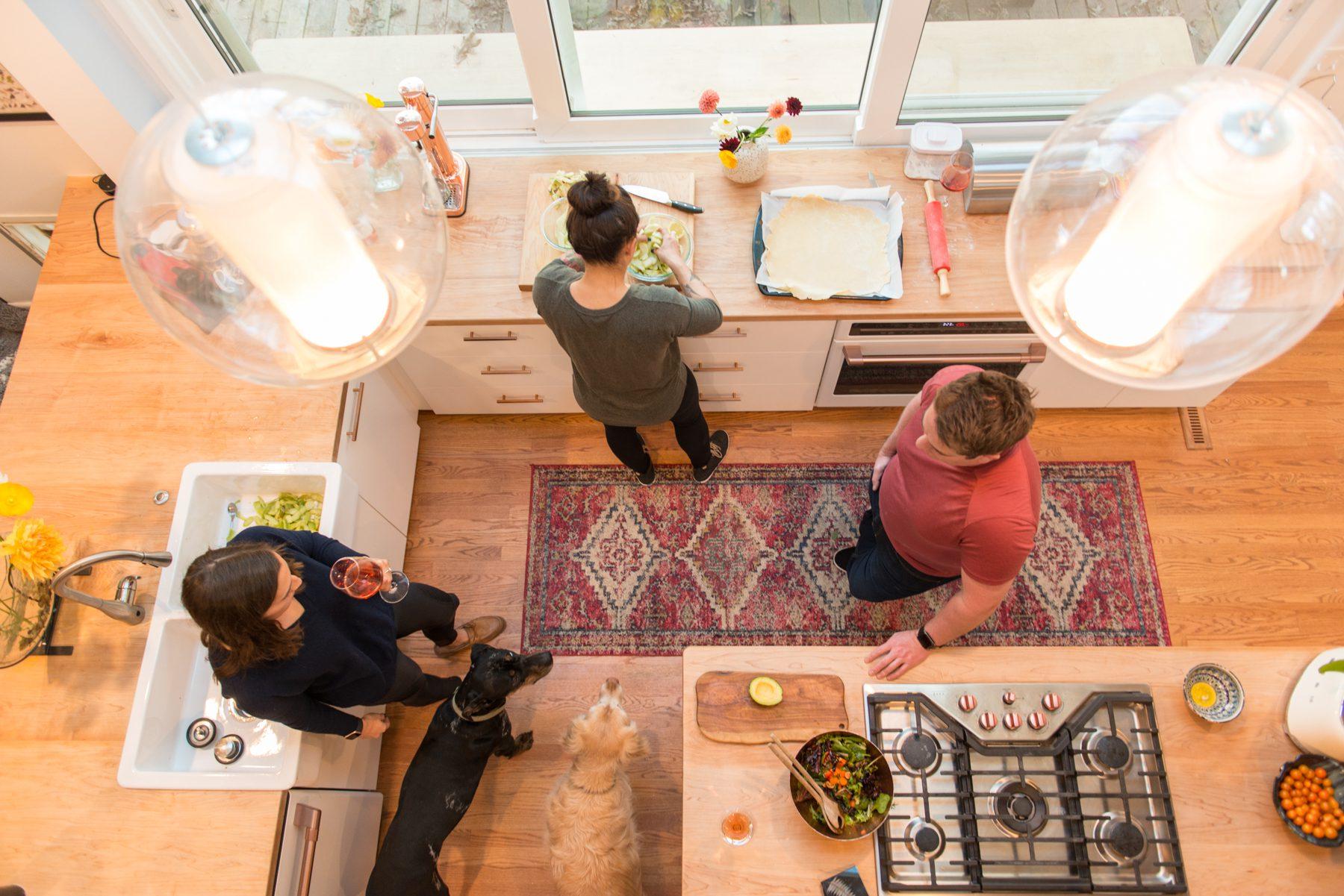Open Floor Plan Ceiling Light kitchen renovation in Durham NC
