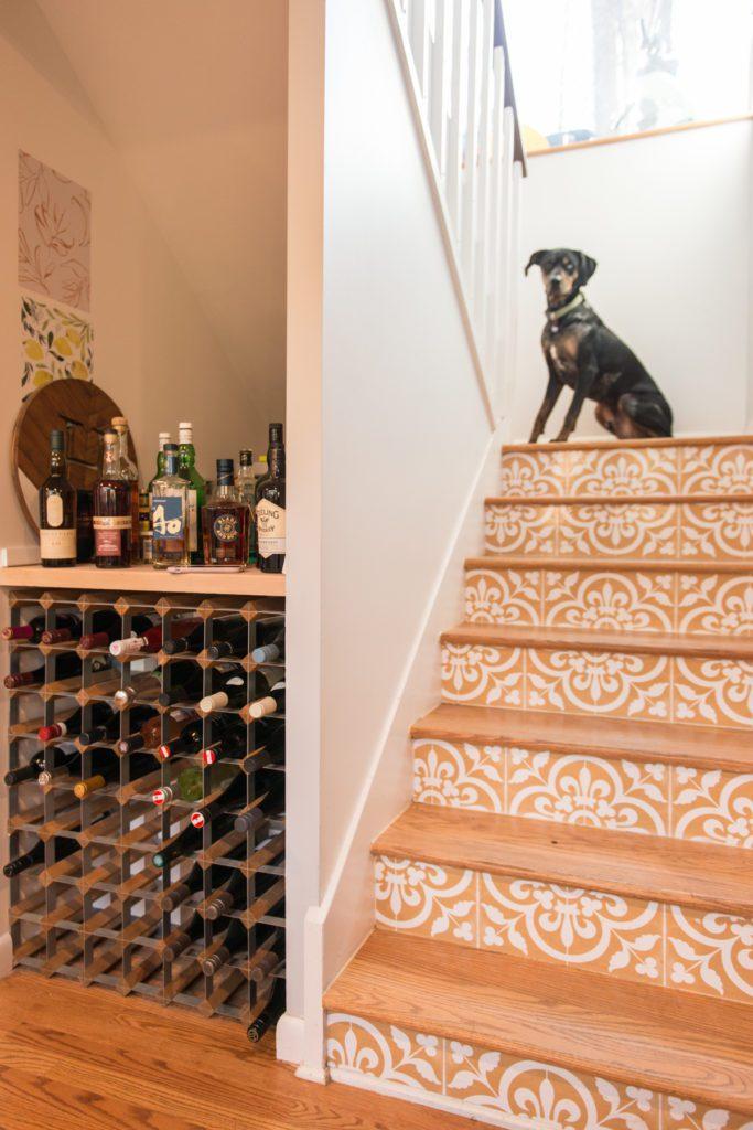 Dog Proof Staircase Vinyl Wallpaper Design Kitchen Renovation in Durham NC