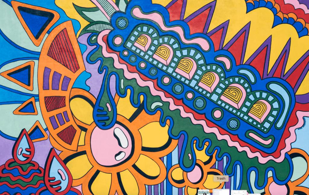 Artist Sarahlaine Calva created a custom, vibrant mural in Hillside Park
