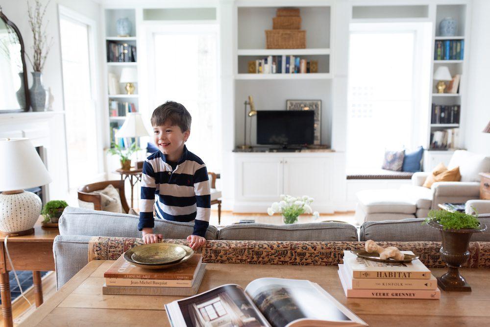 Solomon Goldberg, 5, in the family's spacious living room