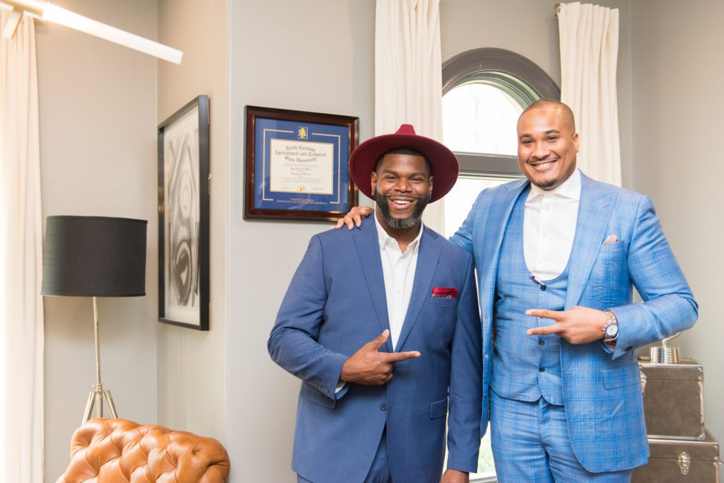 Don Ricardo Massenburg poses with Durham entrepreneur, Ryan Major.