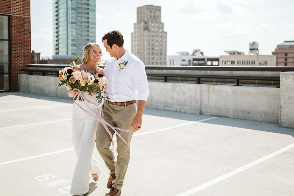 Emily Skidmore and Cody eloped on the Morgan-Rigsbee parking deck due to the COVID-19 quarantine