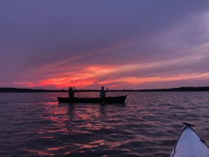 sunset paddle on Falls Lake