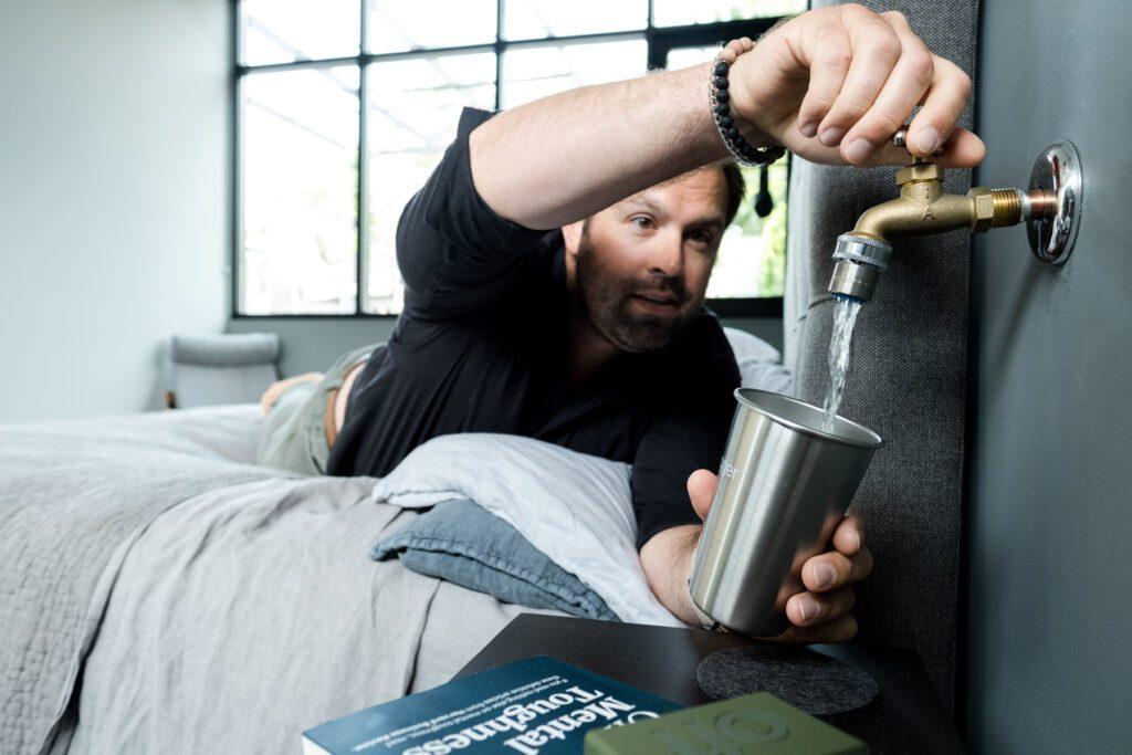 Allen Gant installed water spigots next to each bed in his downtown home