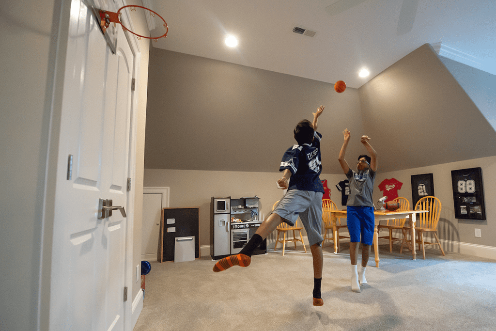 Parekh kids playing all sorts of sports, including basketball