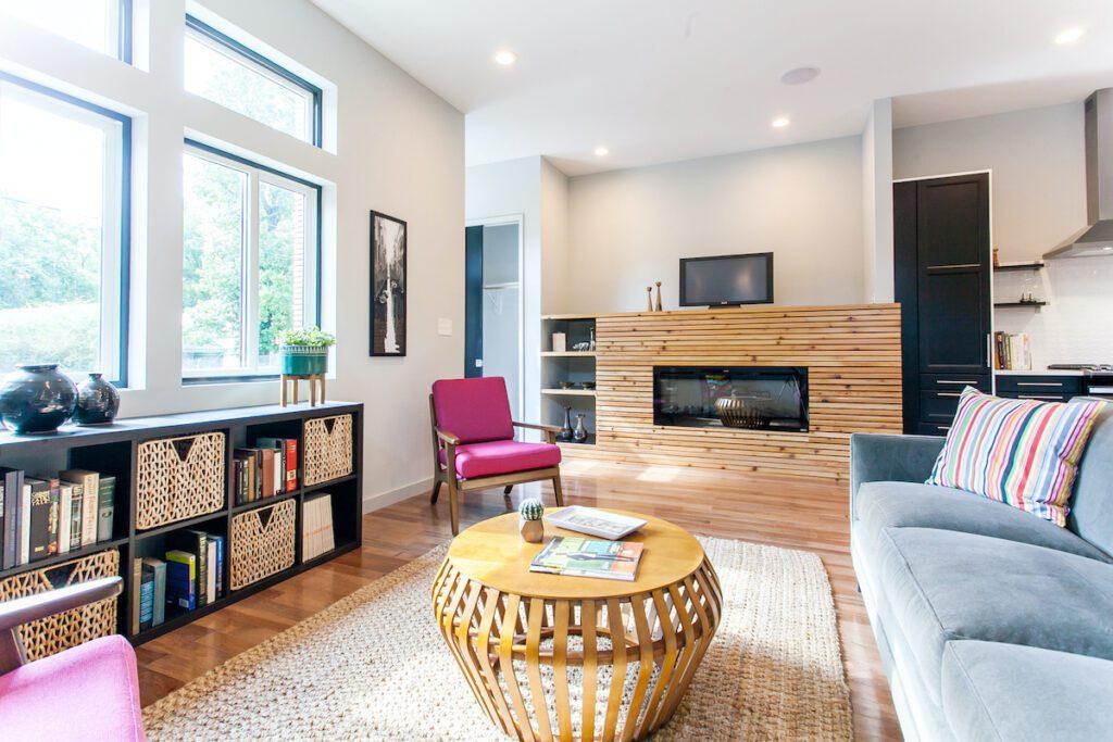 Modern home designs living room fireplace