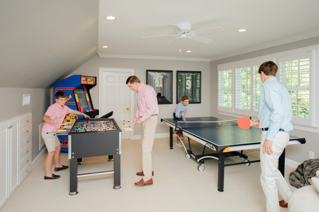 This bonus room in the Hogans' home is perfect for endless games.