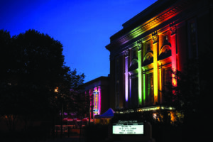 The Carolina Theatre decorated for OutSouth Queer Film Festival