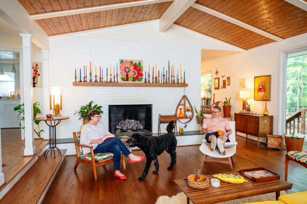 mid-century ranch in durham vintage living room